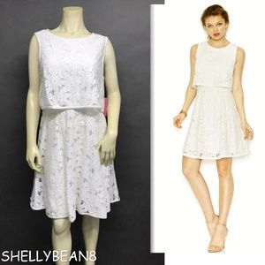 BETSEY JOHNSON White Lace POPOVER Dress 12 NWT
